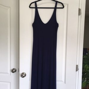 Navy blue deep v neck maxi dress